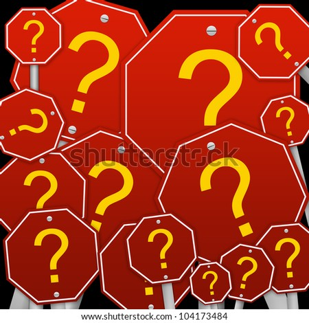 The 3D Question and Answer Arrow Isolated on White Background - stock photo