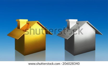 The 3D render image of investment gold and silver house compare with blue sky background - stock photo