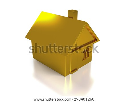 The 3D render image of investment gold house - stock photo