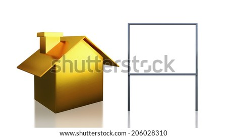 The 3D render image of investment gold  house and blank sign - stock photo