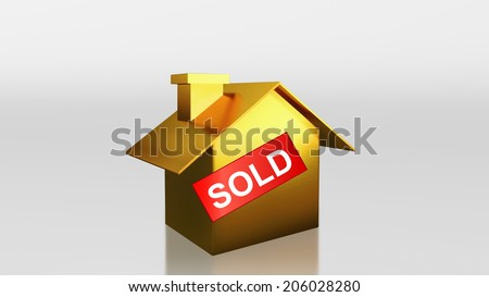 The 3D render image of investment gold house sold label - stock photo