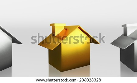 The 3D render image of investment the gold house - stock photo