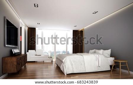 3 D Rendering Interior Modern Bedroom Room Stock Illustration ...