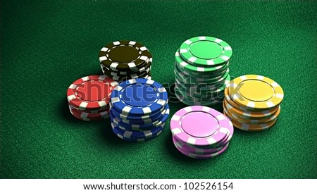 The 3d rendering of difference colored casino chips - stock photo