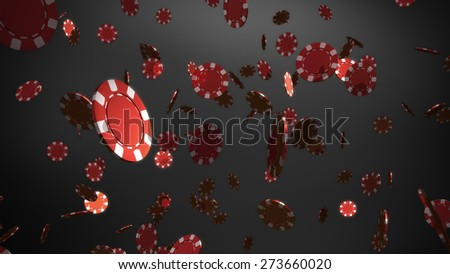The 3d rendering of many casino chips falling - stock photo