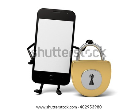 The 3d smartphone and a lock - stock photo
