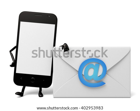 The 3d smartphone and an email