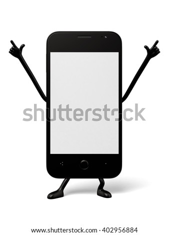 The 3d smartphoneâ??s posture is very personal - stock photo