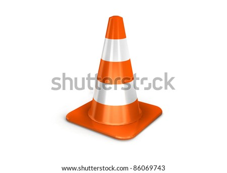 the 3d traffic cones isolated over white. - stock photo