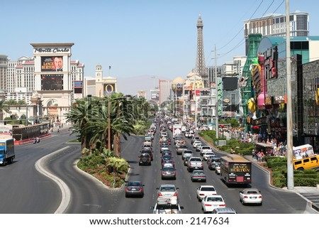 The daily traffic on the Las Vegas Strip - stock photo