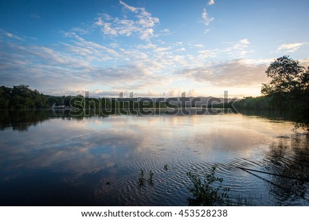 The Daintree River at sunset near the ferry crossing in far nth Queensland, Australia - stock photo