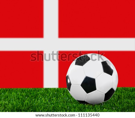 The Danish flag and soccer ball on the green grass