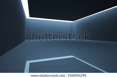 The dark interior of the abstract with the light passing from the crack in the ceiling. - stock photo