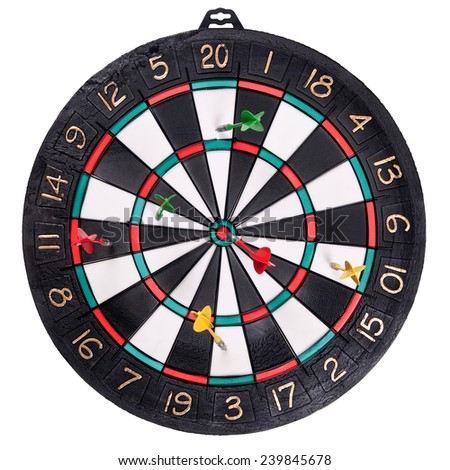 the dart Board with Darts stuck isolated on white background - stock photo