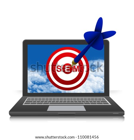 The Dart With SEM( Search Engine Marketing ) Target in Black Laptop Screen Isolated on White Background
