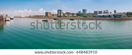 The Darwin waterfront is a popular place for restaurants, shops, water sports, and cruise ships in the capital city of the Northern Territory of Australia.