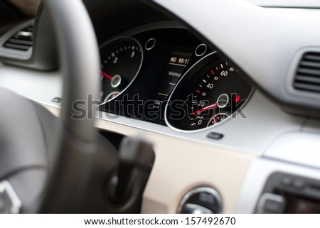 The dashboard in the car. - stock photo