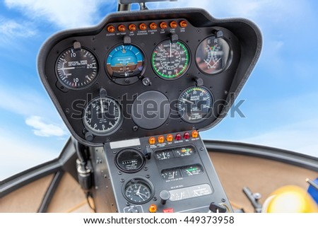 The dashboard panel in a helicopter cockpit