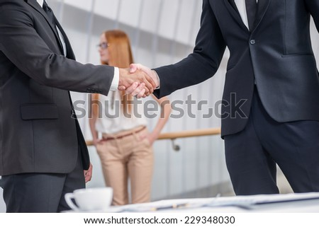 The deal confirmed by handshake. Two successful businessman standing at the table looking at each other shaking hands