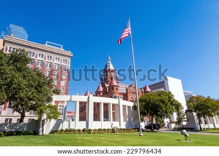 The Dealy Plaza and its surrounding buildings in Downtown Dallas - stock photo