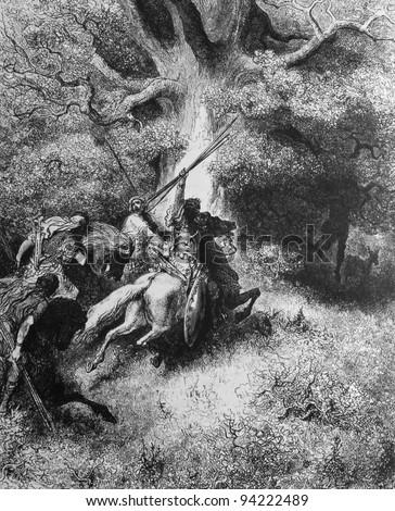 The death of Absalom. 1) Le Sainte Bible: Traduction nouvelle selon la Vulgate par Mm. J.-J. Bourasse et P. Janvier. Tours: Alfred Mame et Fils. 2) 1866 3) France 4) Gustave Doré - stock photo