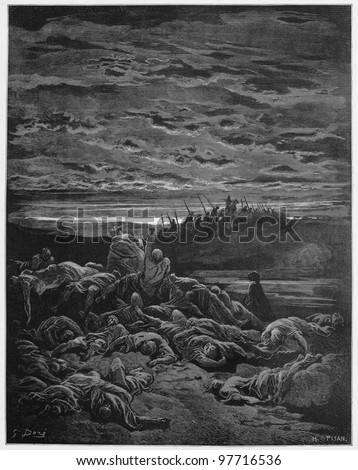 The death of Gideon`s sons - Picture from The Holy Scriptures, Old and New Testaments books collection published in 1885, Stuttgart-Germany. Drawings by Gustave Dore. - stock photo