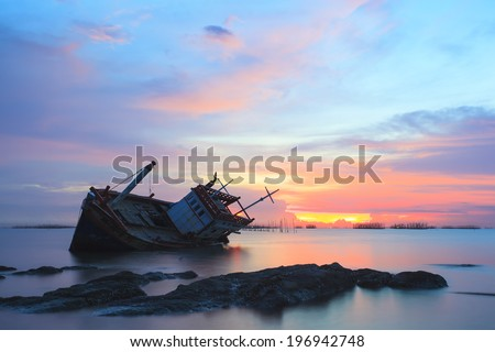The decaying boat , Thailand - stock photo