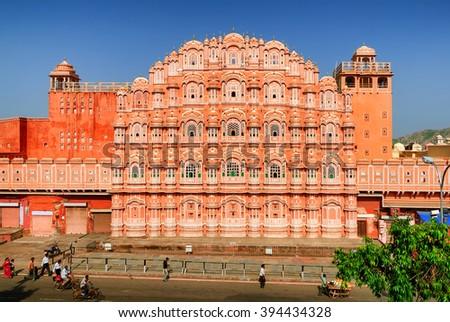 The decorated facade of the Maharaja's Palace of Winds, Hawa Mahal, Jaipur, India - stock photo