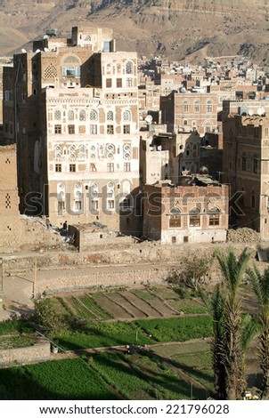 The decorated houses of old Sana unesco world heritage - stock photo