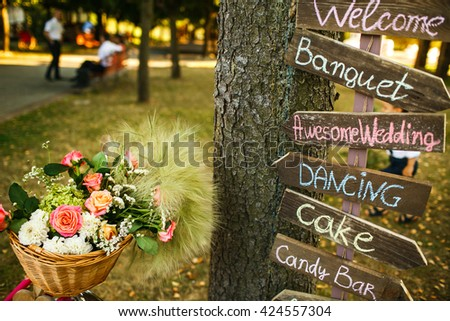 The decorations are on the wedding table - stock photo