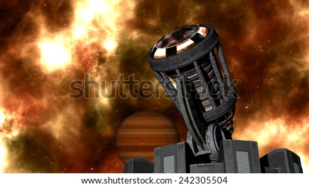 The deep space with planet and the telescope - stock photo