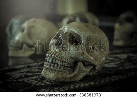 The deer skull designs on carving a Moroccan salad pearl prolong the contract in a beautiful death. - stock photo