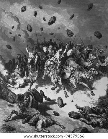 The defeat of the Amorites troops. 1) Le Sainte Bible: Traduction nouvelle selon la Vulgate par Mm. J.-J. Bourasse et P. Janvier. Tours: Alfred Mame et Fils. 2) 1866 3) France 4) Gustave Doré - stock photo