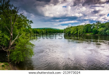 The Delaware River seen from a bridge in Belvidere, New Jersey. - stock photo