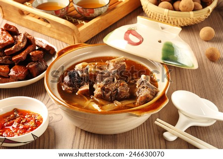 The delicious traditional mutton hot pot.