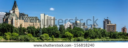 The Delta Bessborough hotel is a historical landmark in Saskatoon and is known for its castle-like appearance. - stock photo