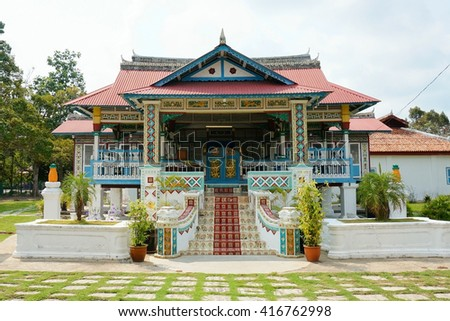 The Demang Abdul Ghani Gallery is a gallery about Demang Abdul Ghani in Merlimau, Jasin, Malacca, Malaysia. It was built in 1894 by Abdul Ghani whose ancestor came from Palembang. - stock photo