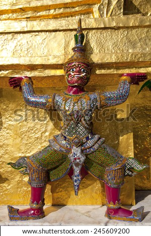 the demon guardian, guarding the buddhist temple in the grand palace, Bangkok - stock photo