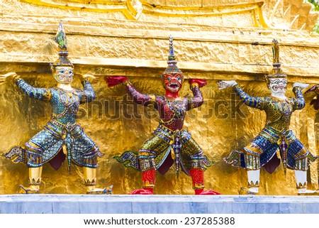 the demon guardian in Wat Phra Kaew, Grand Palace, Bangkok, Thailand. - stock photo