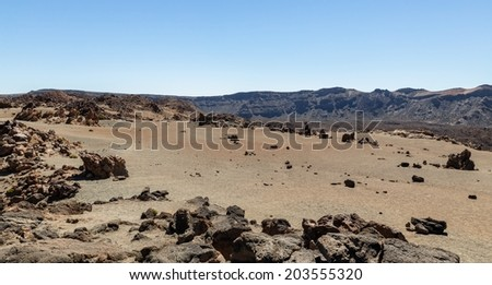 The deserted side of Teide volcano in Tenerife. - stock photo