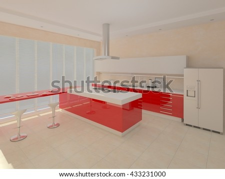 The design of a modern kitchen with red furniture, 3d rendering. - stock photo