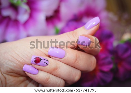 Nail design stock images royalty free images vectors shutterstock the design of nails spring style purple light color with the decor of prinsesfo Choice Image