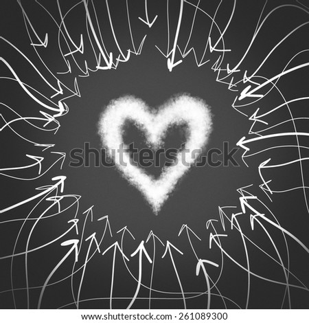 The desire to find the one and true love. Heart symbol - stock photo