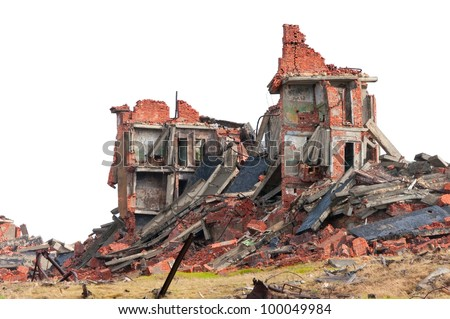 The destroyed apartment building in the tundra in the far north - stock photo