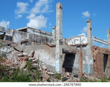 the destroyed building - stock photo