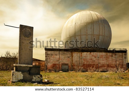 The destroyed building on the old Soviet polygon - stock photo
