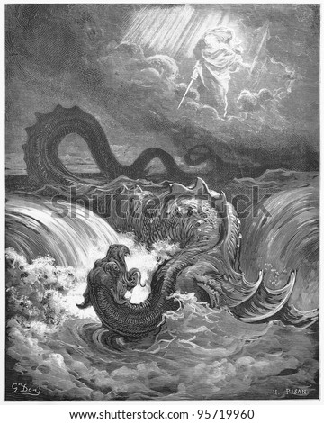 The Destruction of Leviathan - Picture from The Holy Scriptures, Old and New Testaments books collection published in 1885, Stuttgart-Germany. Drawings by Gustave Dore.