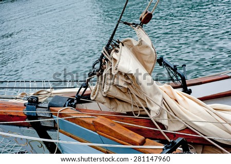 The detail of the tall ship  - stock photo