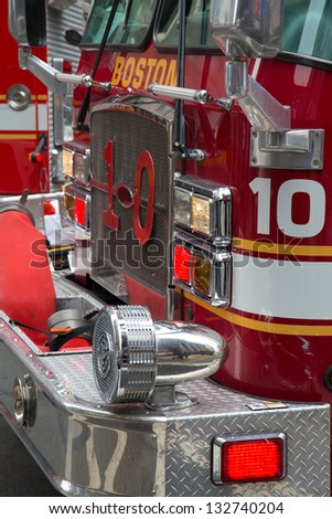 The detail on the front of a Fire Engine at a response to a fire alarm. Boston, MA - stock photo