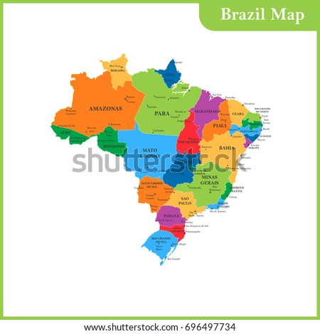 Detailed Map Brazil Regions States Cities Stock Vector - Brazil states map